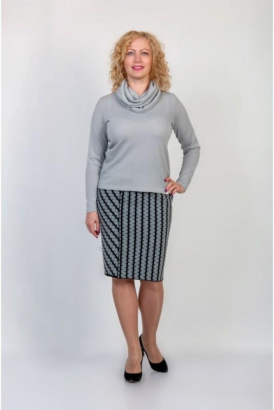 Юбка NITA Л 735-19 серый/черный