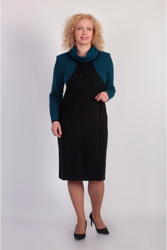 Платье NITA Л 563-19 черный+бирюза