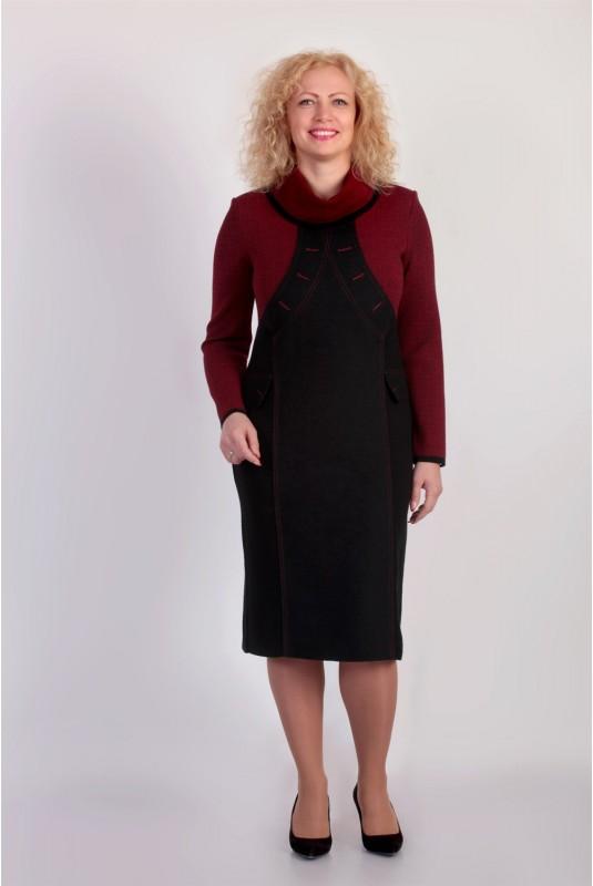 Платье NITA Л 563-19 черный+вишня