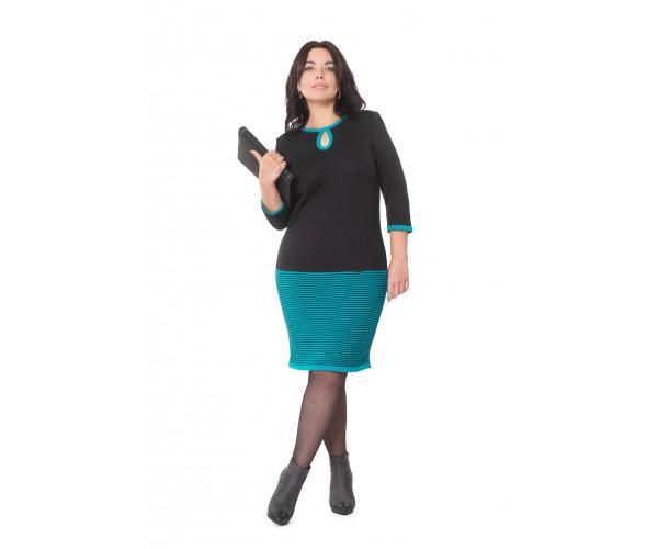 Платье NITA Л 699-19 черный+бирюза