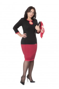 Платье NITA Л 699-19 черный+коралл