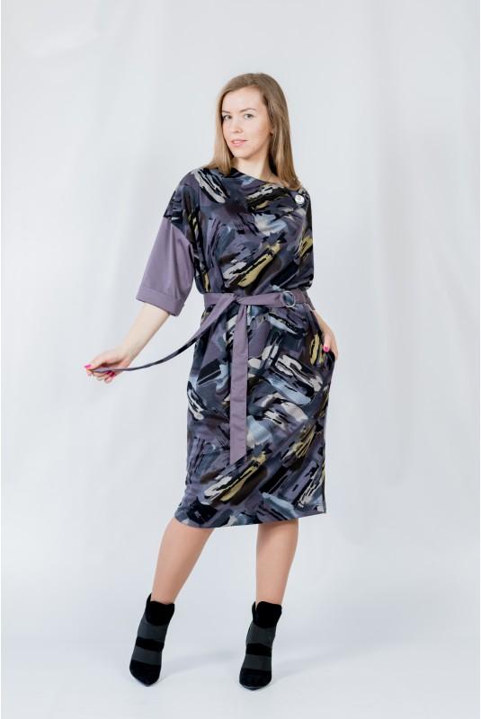 Женское платье NITA Л 809-20 абстракция -слива