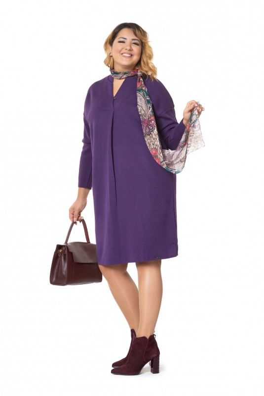 Женское платье Л 782/2-19 с воротником-шалькой фиалковое