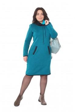 Платье NITA Л 753-19 жаккард бирюза+синий