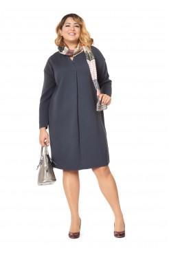 Платье NITA Л 782/2-19 с воротником-шалькой графит