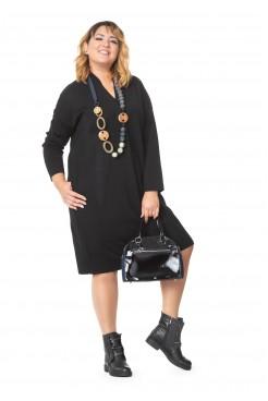 Платье NITA Л 782/2-19 с воротником-шалькой черное