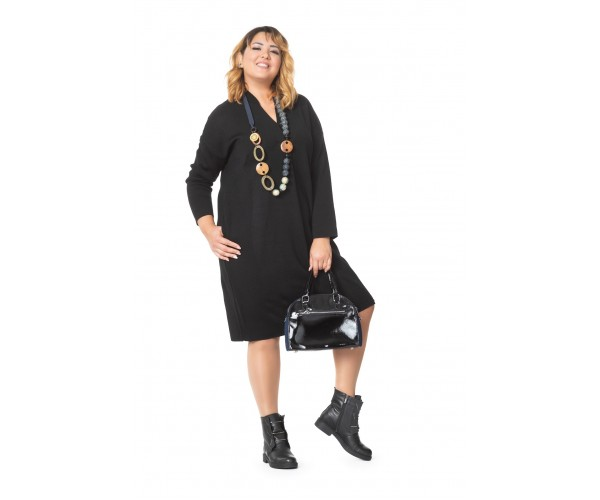 Женское платье Л 782/2-19 с воротником-шалькой черное