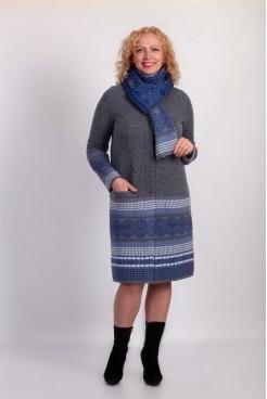 Пальто NITA Л 669-18 светло-серый+голубой